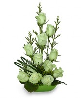 Jade Green Roses Arrangement