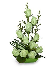 Jade Green Roses Arrangement