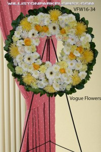 Always In Our Hearts Wreath (White and Yellow) Funeral Sympathy Wreaths