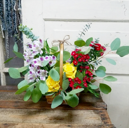 The Polly Bouquet  Basket Arrangement