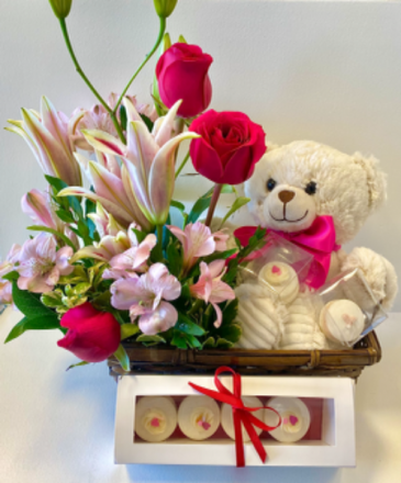 A Beary Sweet Gift Bundle  Floral Basket