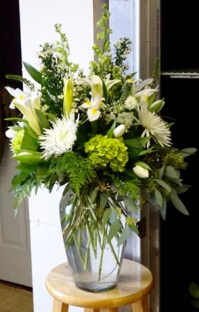 A Beautiful Statement All White Vase Arrangement