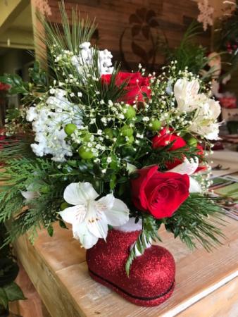 A 'Bootiful' Little Christmas  Santa Boot arrangement