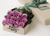 A box of Purple Roses
