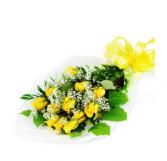 A Bright Dozen Yellow Roses Wrapped