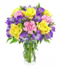A BRIGHTER DAY ARRANGEMENT Lillies, carnations, roses and carnations with wax filler