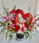 A Bucket Of Hugs And Kisses Floral Design