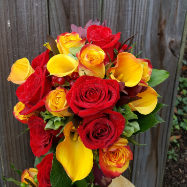 A Calla Lily & Red / Yellow Rose Bouquet