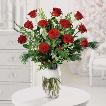 A Christmas Dozen Vase Arrangement