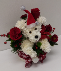 A Christmas Puppy Floral Arrangement