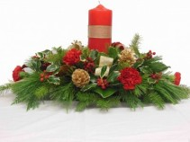 WARM WISHES Christmas Pillar Candle Centerpiece