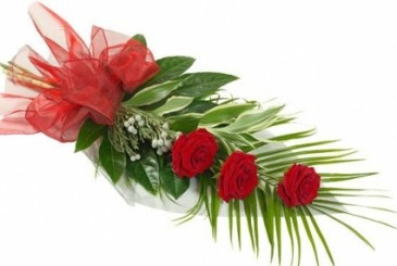 A CLASSI & ELEGANT 3 RED  ROSES GIFT SET
