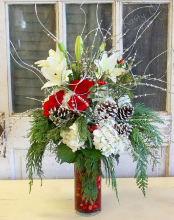 A Cranberry Christmas  Vase Arrangement