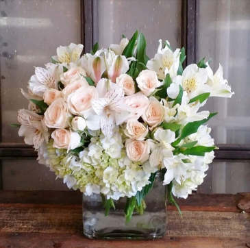The Pearl Bouquet Cube Arrangement
