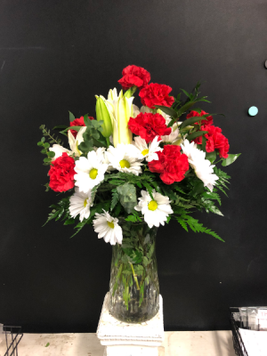 A Dozen Carnations with Lillies and Daisies  in Garner, NC | BLOOMIES ON 42 LLC.