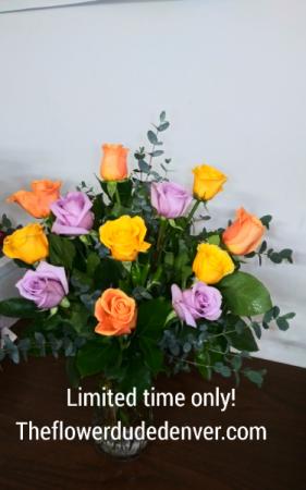 A Dozen Mix Color Roses  in Denver, CO | THE FLOWER DUDE DENVER