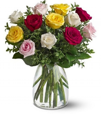A Dozen Mixed Roses Bouquet