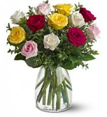 A Dozen Mixed Roses floral arrangement