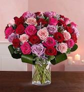 A dozen pastel valentine mixed roses