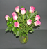 A DOZEN PINK ROSES IN CLEAR VASE MEDIUM