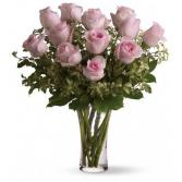 A Dozen Pink Roses Vase arrangement