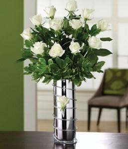 Premium White Roses in a vase   in Oakville, ON | ANN'S FLOWER BOUTIQUE-Wedding & Event Florist