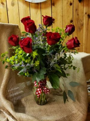 A dozen roses  in Manistee, MI   Lavender Florals