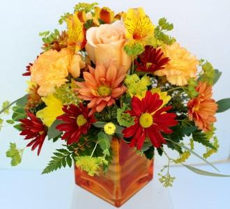 An Orange Sunset Fresh flower arrangement