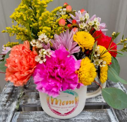 A Friend In Mom Fresh Flower Mug Arrangement