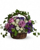 """A Full Life 8"""" round basket with handle"""