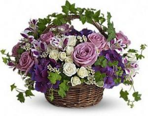 Blissful Basket Spring Arrangement in Lauderhill, FL | A ROYAL BLOOM FLOWERS & GIFTS