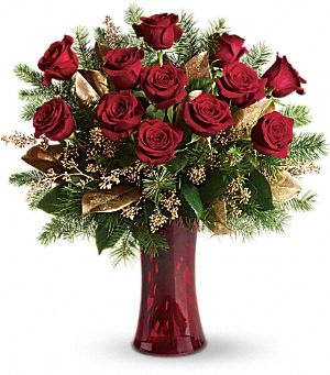 A Holiday Dozen Holiday Arrangement in Lauderhill, FL | A ROYAL BLOOM FLOWERS & GIFTS