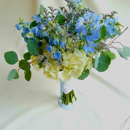 A hydrangea euc larkspur bouquet in white oak pa breitingers a hydrangea euc larkspur bouquet mightylinksfo