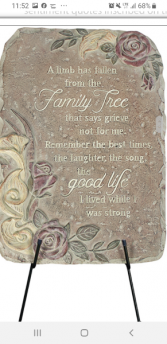 """A Limb Has Fallen"" garden stone Keepsake"