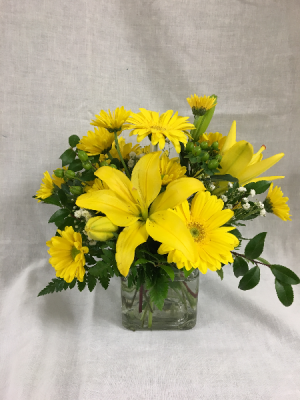A Little Bit of Sunshine Arrangement in cube in Cherokee, IA | Blooming House