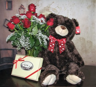 A Love Affair 1Dz Roses Large Dark Brown Bear + Large Box Chocolates