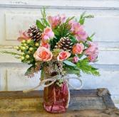 Pretty Pink Winter Mason Jar