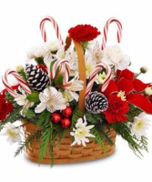 A Merry Little Christmas Basket with flowers, cones and canes