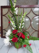 A Moment in Time Fresh red and white bouquet with vine