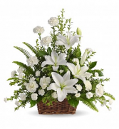 Peaceful White Lilies Sympathy Basket Delivery
