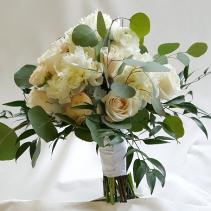 A Peony, Ranuculus, Eucalyptus Bouquet