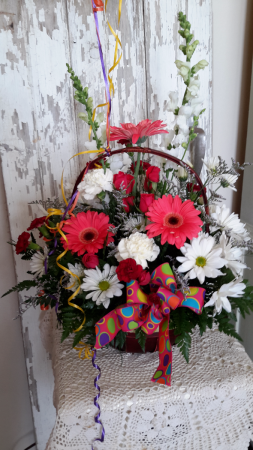 A Powerful Birthday special Basket arrangement  in North Salem, IN | Garden Gate Gift & Flower Shop