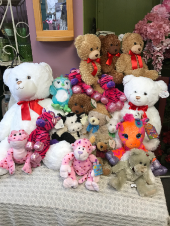 A range of stuffed animals, bears and more. A nice variety of plush.