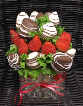 A.)Square Vase  Chocolate covered Strawberries