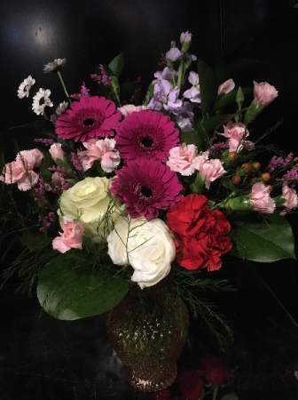 A Sweet Suprise Valentines Blooms in Petite Pink Cut Glass