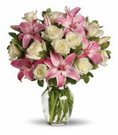 A Touch of Romance Romantic Mix of Roses & Lillies