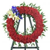 A True Hero Wreath Standing Spray