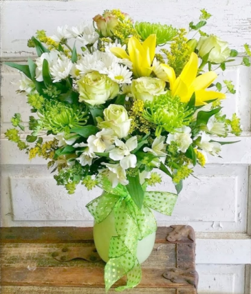Green Glow Vase Arrangement