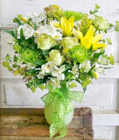 Green Glow Vase Arrangement