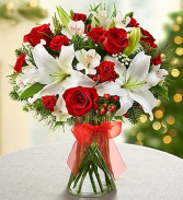 A Vase Of Christmas Cheer WILL HAVE TO SUB FOR OTHER COLOR ROSES RED SOLD OUT